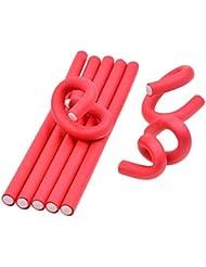 inkint ® 10 pcs Rouleaux Bigoudis - Bigoudis Flexibles en mousses 24x1.0cm Pour les cheveux secs / humides (Rouge)