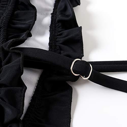 OMKAGI Damen Bandeau-Bikini Sets niedliches Shirred Badeanzug Hohe Taille Badeanzug - - X-Large - 5