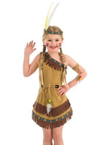 Mädchen Indianer Rot Indianer Squaw Chief Wild West Cowboy Kostüm Kleid Outfit 4-12 years - Braun, 6-8 Jahre (Wild Outfits West)