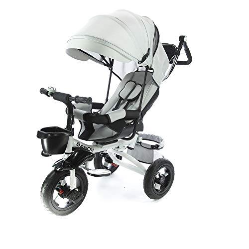 BenOli Dreirad 4in1✔Buggy und Schiebewagen in einem✔Kinderdreirad Kinder Fahrrad ✔Kinderwagen mit lenkbarer Schubstange ✔klappbares, ✔flüsterleise Gummireifen und Sonnendach, ✔4-Fach Umbau (Grau)