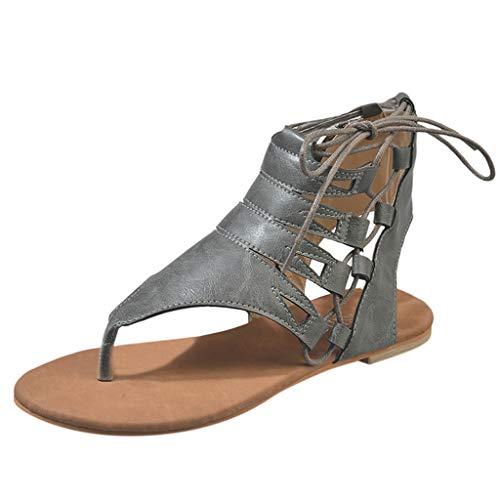 Yvelands Mode Damen Sandalen Feste Art- und Weisesandalen-beiläufige römische Schuhe(Grau,38)