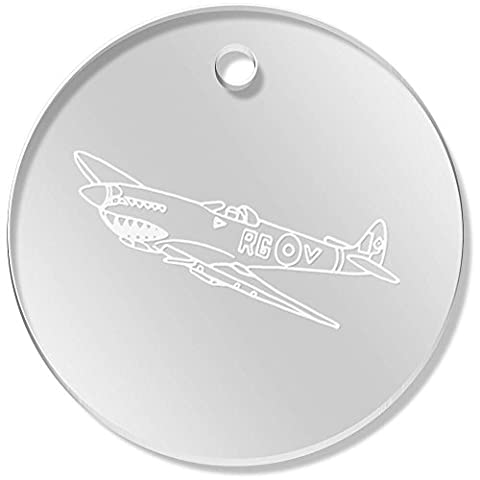 11 x 34mm 'Avion Spitfire' pendentif transparent (PN00040282)