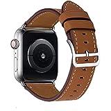 MroTech Ersatz für iWatch 40mm Lederarmband 38mm Watch Band Ersatzband Echtleder Uhrenarmband Leder Loop für kompatibel mit iWatch Series 1 Series 2 Series 3 Series 4 Smartwatch (38/40 mm,...