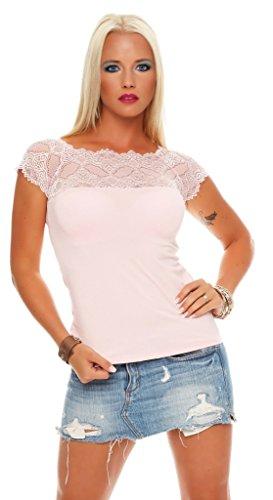 Mississhop 71 Damen Spitzenshirt Spitze Spitzen T-Shirt Bluse Shirt Langarmshirt Kurzarmshirt Rosa/Kurzarm