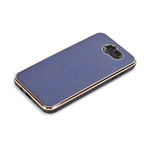 EKINHUI Case Cover Dual Layer PC + TPU Eletroplating PC Retro Crazy Pferd Leder Skin Shell Abdeckung Fall für Samsung Galaxy J7 2017 ( Color : Brown ) Blue