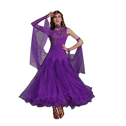 RJ Kleid Erwachsene Dame Modern Dance Skirt Lace Stitching Big Pendel Dance Competition Dress (Color : Purple, Size : S)