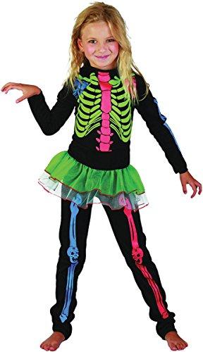 Preisvergleich Produktbild Skeleton Mädchen - mehrfarbig Bones - Kinder Kostüm - Large - 134cm bis 146cm