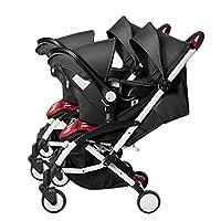 Xiao ping Twin Stroller Lightweight Folding Detachable Sitting Reclining Newborn Multi-purpose Double Basket ( Color : 1 )