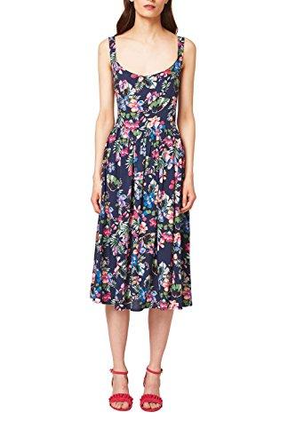 ESPRIT Damen Kleid 068EE1E009, Mehrfarbig (Navy 400), 38