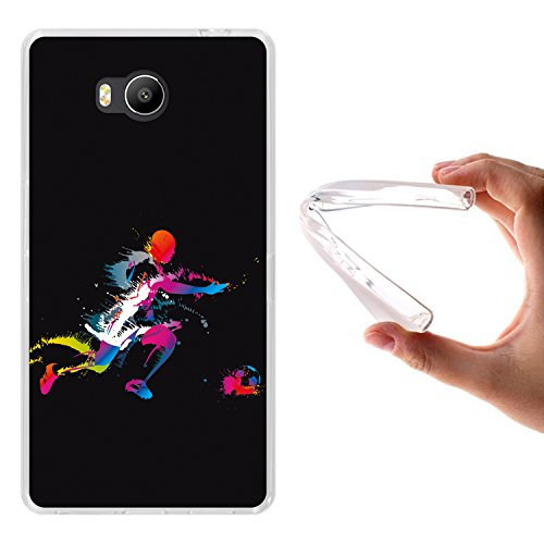 WoowCase Elephone P9000 Lite Hülle, Handyhülle Silikon für [ Elephone P9000 Lite ] Fußballspieler Schwarz Handytasche Handy Cover Case Schutzhülle Flexible TPU - Transparent