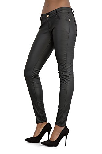 13b47821c754 Womens Leather Look Black Trousers Skinny Slim Fit Ladies Jeans Sizes UK  6-14. by lustychic