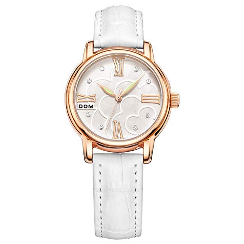 ♚Seven Damenuhrmarke Luxuxart Und Weise Beiläufige Dame Armbanduhren Lederne Wasserdichte Elegante Weibliche Quarzuhr,White