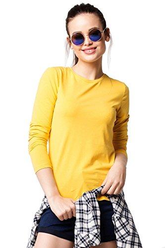 Elegance Damen-Langarm-T-Shirt mit Rundhalsausschnitt(ref:2214) (XL, Gelb(Yellow)) (Art-damen-gelb T-shirt)