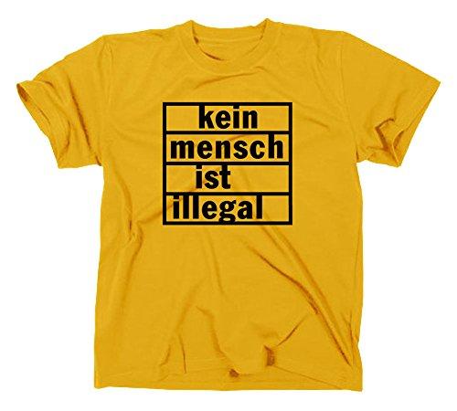 Kein Mensch ist illegal T-Shirt, refugees welcome Gelb
