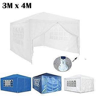 AutoBaBa Garden Gazebos, 3x4m Garden Gazebo Marquee Tent with Side Panels, Fully Waterproof, Powder Coated Steel Frame for Outdoor Wedding Garden Party, White
