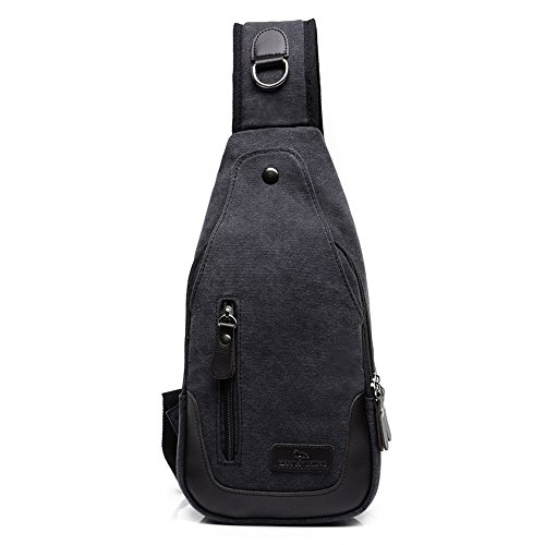 Wewod Herren Outdoor Leinwand Brusttasche Verschleißfest Sling Bag Crossbody mit Multi-Tasche Schwarz