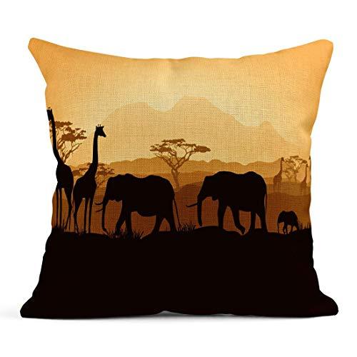Decor Lino Caso copridivano Arancione Safari Animali africani Sagome nel Tramonto Giallo Africa Albero Notte 18x18 Casi Quadrati di Lino Cuscino Una Stampa Laterale