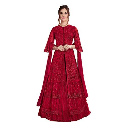 Maroon New Eid Collection Indische muslimische Braut pakistanische Bollywood Anarkali Salwar Kameez bereit, Designer Boden Touch Net schwere Stickerei 7887 zu tragen Super Net Saree