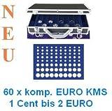 SAFE ALU MÜNZKOFFER 268 - 183 - 60 x KOMPLETTE EURO KURSMÜNZENSÄTZE KMS 1 CENT - 2 EUROMÜNZEN ----- mit 6 Tableaus Nr. 183 -------- Ideal für Euro Jahrgangssätze 1 , 2 , 5 , 10 , 20 , 50 Cent , 1 , 2 Euromünzen