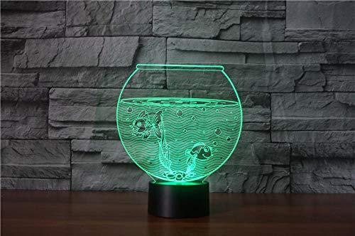 3D Optische Täuschung Nachtlicht Aquarium 7 Farben Erstaunliche Optische Täuschung Die Schlafzimmer-Dekoration Für Kinder Weihnachten Halloween-Geburtstagsgeschenk Beleuchten