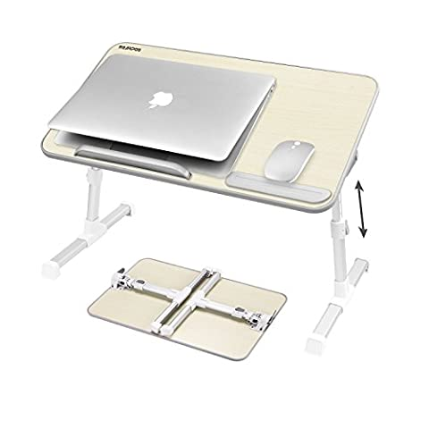 Nearpow Adjustable Laptop Bed Table, Bed Tray Table, Portable Standing Desk, With Foldable Legs, Foldable Sofa Breakfast Table, Notebook Stand Reading Holder For Couch Floor (Beige)