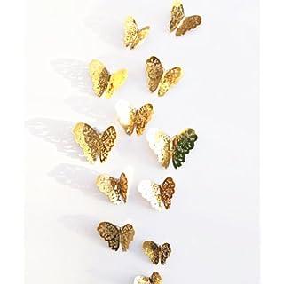 New 12Gold 3D Schmetterling Wand Aufkleber art Aufkleber Zuhause Zimmer Dekorationen Decor (Gold-1)
