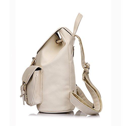 Minetom Schulrucksack Schulranzen Einfarbig Schultasche Rucksack Freizeitrucksack Daypacks Backpack Mädchen Damen Weiß