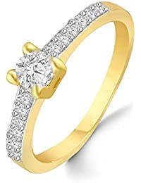 Classic Center Solitaire Diamond Studded Gold Plated Alloy Cz American Diamond Finger Ring For Women & Girls [...