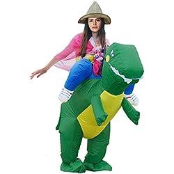Triseaman unisexo adulto de Halloween divertido fantasía hinchable ropa Verde dinosaurio