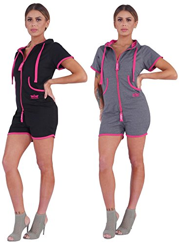 Finchgirl Hotsuit Pinked Jumpsuit Overall Onesie Jogger Hot Pant Einteiler (L, Black/Pink)