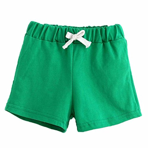 erthome Baby Kleidung, Kinder Junge Mädchen Sommer Solid Tops T-Shirt Shorts Outfits Sets (Grün, 6 Jahre) Jungen Shorts Set
