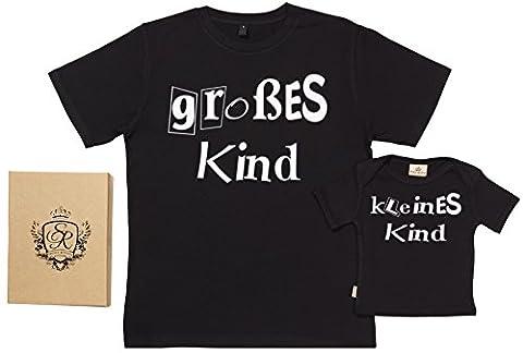 SR - Geschenkpackung Baby Geschenkset - Grobes Kind & Kleines Kind - Vater T-Shirt und Baby T-Shirt in Geschenkbox - Vater Baby Geschenkset in Geschenkbox - Schwarz, L & 18-24 (24 Satz Box)