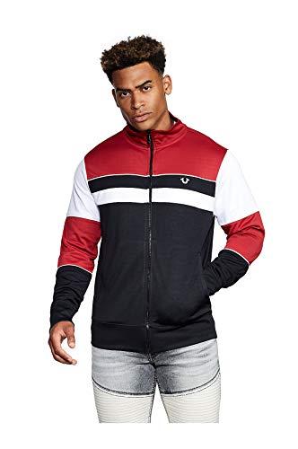 True Religion Herren Zip Up Track Jacket Jacke zum Aufwärmen, Schwarz/Weiß/Rubinrot, Groß