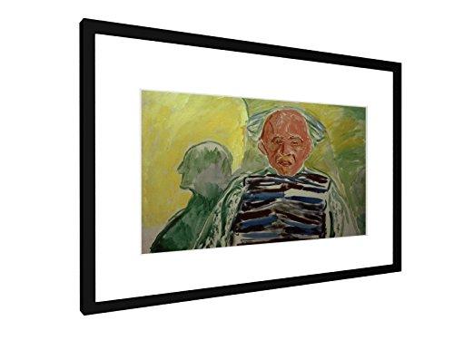 weewado Edvard Munch - Selbstporträt mit Pullover - 60x40 cm - Bild mit Rahmen/Gerahmtes Poster - Kunstdruck - Wandbild -...