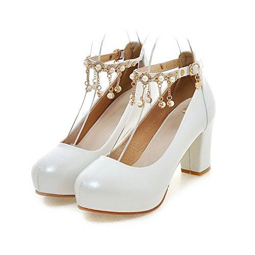Boucle Cuir Blanc Mosaïque à VogueZone009 Haut Légeres Femme Rond Pu Talon Chaussures q8HSOwS