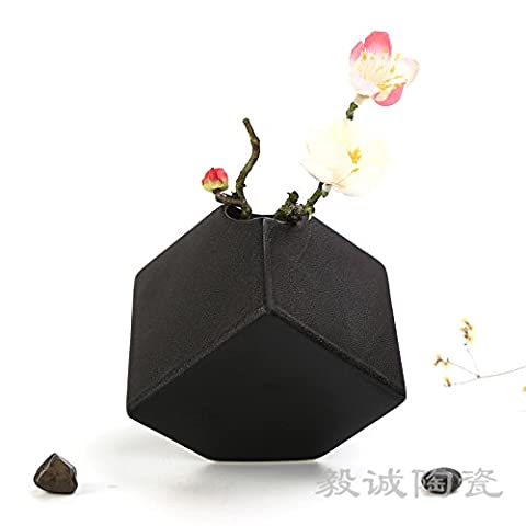 Maivas Vase Creative Black Ceramic Small Ornaments Modern Simple Living Room Home Decoration Dried Flowers, Lrhf02