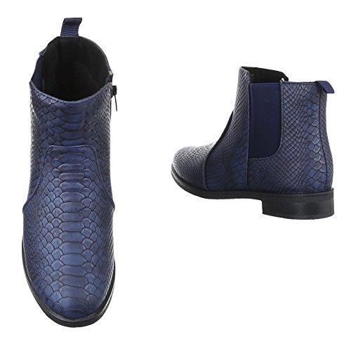 Ital-Design , Bottes Chelsea femme bleu foncé