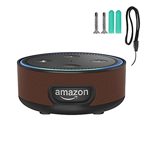 Echo Dot Wall Mount, Protective Hard Case Stand Guard Holderfor Amazon Echo Dot 2nd Generation (Brown)