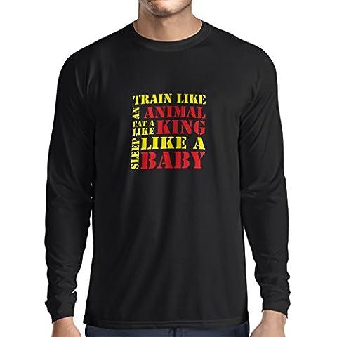 T-Shirt Manches Longues Homme Train Hard - devis de motivation, plan d'entraînement quotidien (Small Noir Jaune)