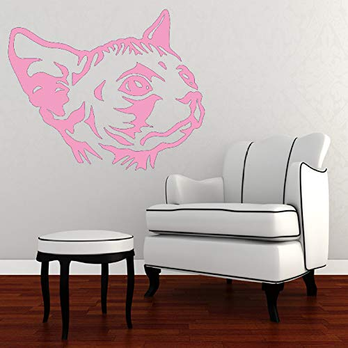 Sticker mural Sphynx Cat Chat Creative Tête de Vinyle Autocollant Mural Livraison Gratuite Murale Murale Home Room Spécial Animaux Art Rose 75X84CM