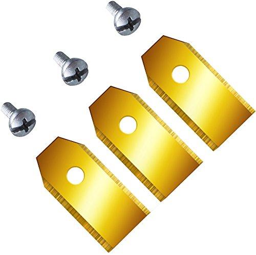 Titan!! 12 Ersatzmesser (0,6mm) extrahart für Husqvarna Automower & Gardena mit funktionaler Titan-Karbid Beschichtung 9 0,6 mm/2,4 gr. neu Messer Klingen Mähroboter titanbeschichtet