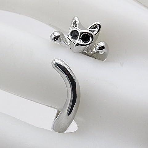 Distinct® 1pc lindo gatito anillo de los ojos de gato cristalino animal Negro