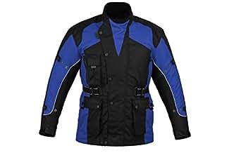 Bikers Gear UK Blouson de moto renforcé - imperméable - bleu - taille M (EU 48)