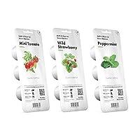 Kit composto da 3 confezioni di capsule miste per Smart Garden 3 e 9 della marca Click & Grow. Ricariche di pomodorini, fragole e menta, facili da coltivare in giardino d'interno.