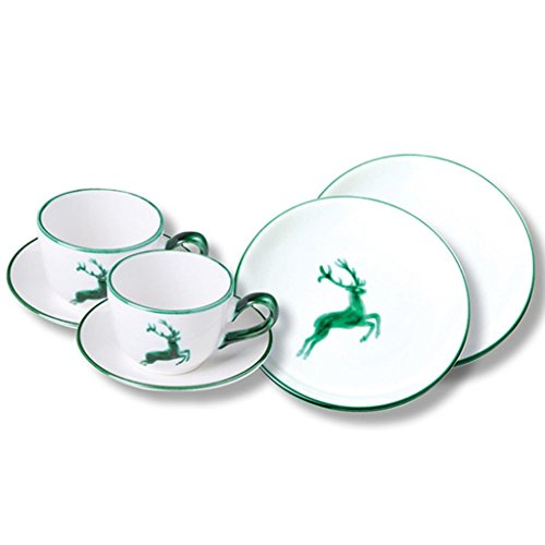 Gmundner Keramik Manufaktur 0324STSC06SET grüner Hirsch Breakfast for Two Classic,