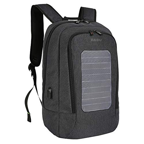 PLIENG Rucksack Männer 15,6-Zoll-Laptop-Tasche USB-Lade Business Casual Travel High Capacity Solar-Lade Bookbag,Black