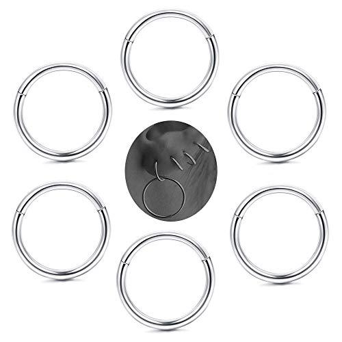 Milacolato 6-8 Pcs 316L Edelstahl Verbesserte klappbare Clicker Ringe Nase Hoops Septum Segment Ring Sleeper Ohrringe Knorpel Piercings für Männer Frauen (18g Segment Hoop)