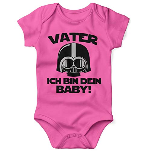 Mikalino Babybody mit Spruch für Jungen Mädchen Unisex Kurzarm Vater - ich Bin Dein Baby! | handbedruckt in Deutschland | Handmade with Love, Grösse:74, Farbe:pink
