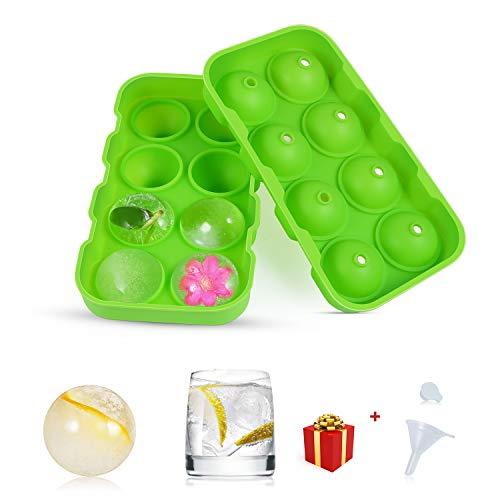 Eiswürfelform,Heatigo Umweltfreundlicher Grüner Nahrungsmittelgrad-Silikon 8 Eisball-Hersteller,Einfach,Eiswürfel-Kugeln für Whisky-Cocktail Oder Babynahrung Eiskugelform,Wiederverwendbar und BPA-Frei