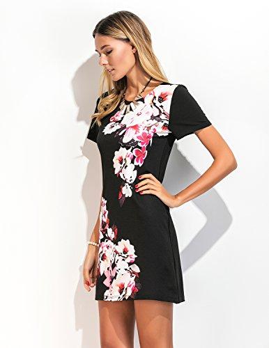 MODETREND Damen Elegante Kleider mit Blüte Drucken Kurzen Ärmeln ...